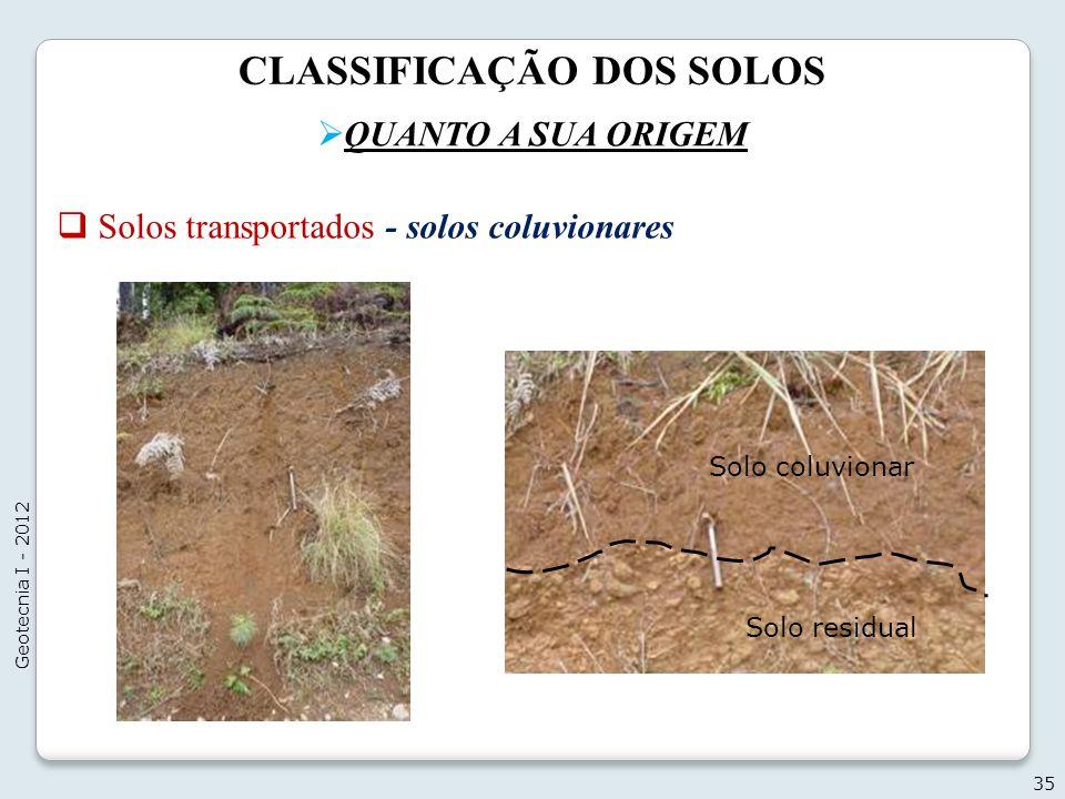 CLASSIFICAÇÃO DOS SOLOS QUANTO A SUA ORIGEM 35 Geotecnia I - 2012 Solos transportados - solos coluvionares Solo coluvionar Solo residual