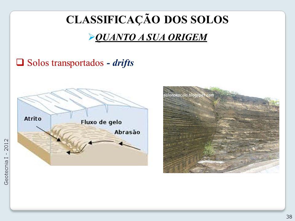 CLASSIFICAÇÃO DOS SOLOS QUANTO A SUA ORIGEM 38 Geotecnia I - 2012 Solos transportados - drifts