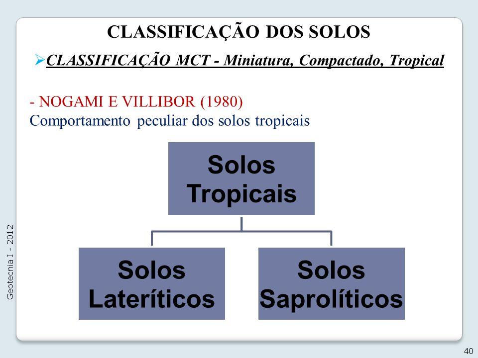 CLASSIFICAÇÃO DOS SOLOS CLASSIFICAÇÃO MCT - Miniatura, Compactado, Tropical 40 Geotecnia I - 2012 - NOGAMI E VILLIBOR (1980) Comportamento peculiar do