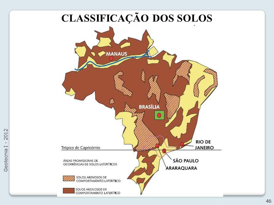CLASSIFICAÇÃO DOS SOLOS 46 Geotecnia I - 2012