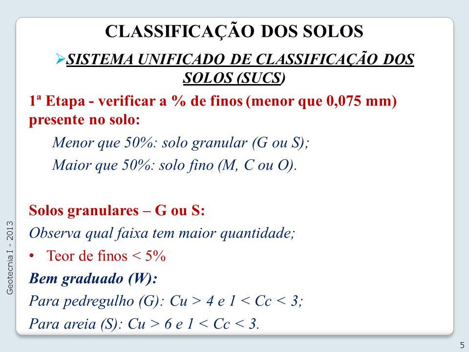 CLASSIFICAÇÃO DOS SOLOS SISTEMA UNIFICADO DE CLASSIFICAÇÃO DOS SOLOS (SUCS) 1ª Etapa - verificar a % de finos (menor que 0,075 mm) presente no solo: M