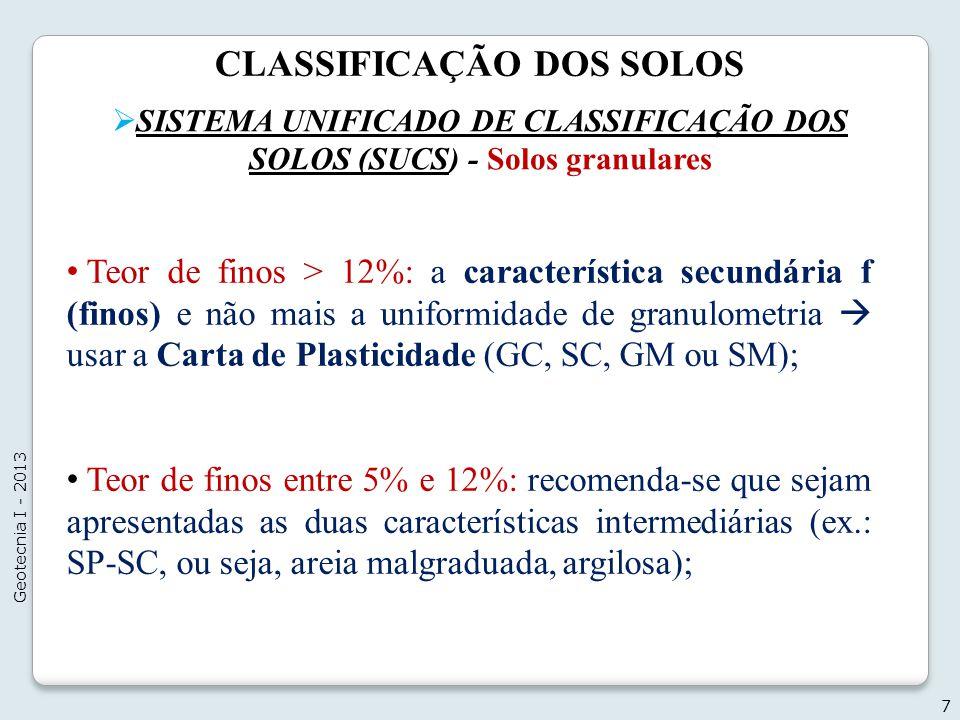 CLASSIFICAÇÃO DOS SOLOS SISTEMA UNIFICADO DE CLASSIFICAÇÃO DOS SOLOS (SUCS) - Solos granulares 7 Geotecnia I - 2013 Teor de finos > 12%: a característ