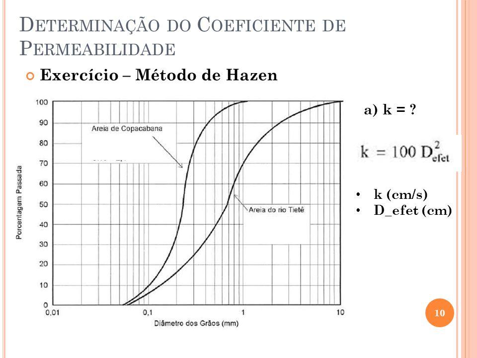 D ETERMINAÇÃO DO C OEFICIENTE DE P ERMEABILIDADE 10 Exercício – Método de Hazen a) k = ? k (cm/s) D_efet (cm)