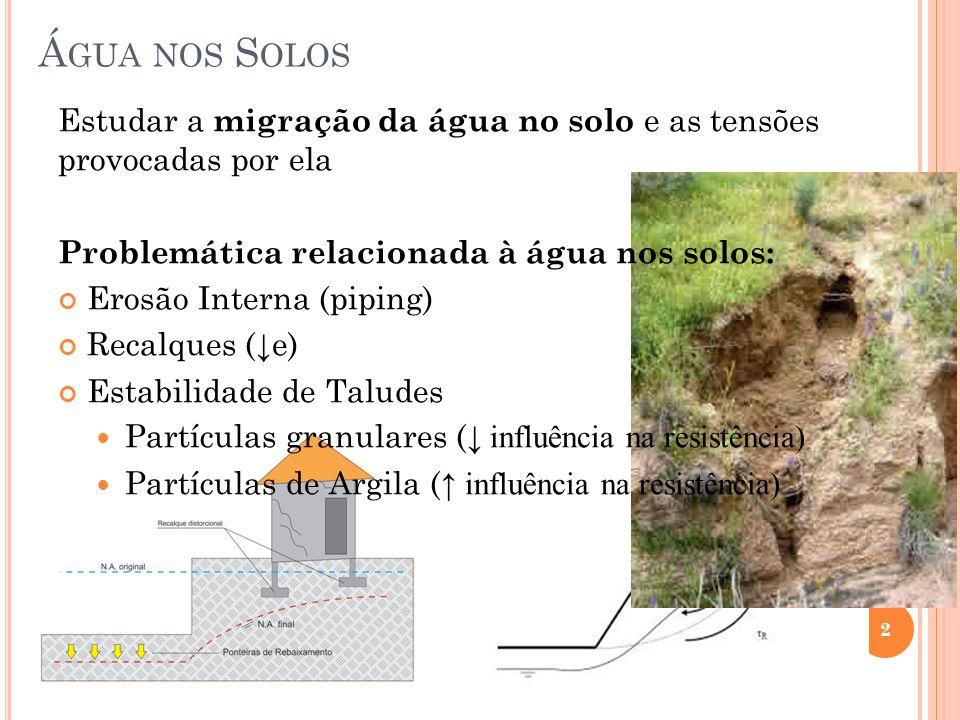 Á GUA NOS S OLOS 2 Estudar a migração da água no solo e as tensões provocadas por ela Problemática relacionada à água nos solos: Erosão Interna (pipin