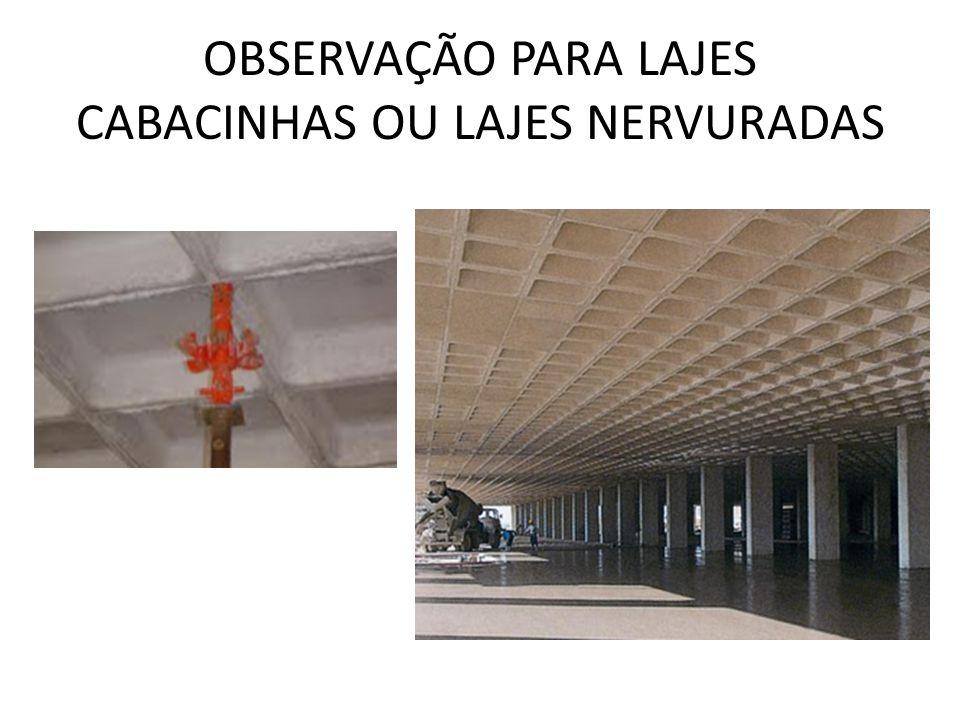 OBSERVAÇÃO PARA LAJES CABACINHAS OU LAJES NERVURADAS