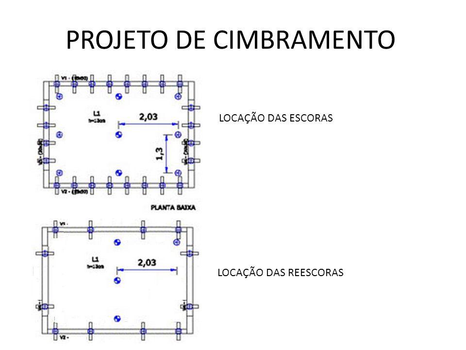 PROJETO DE CIMBRAMENTO LOCAÇÃO DAS ESCORAS LOCAÇÃO DAS REESCORAS
