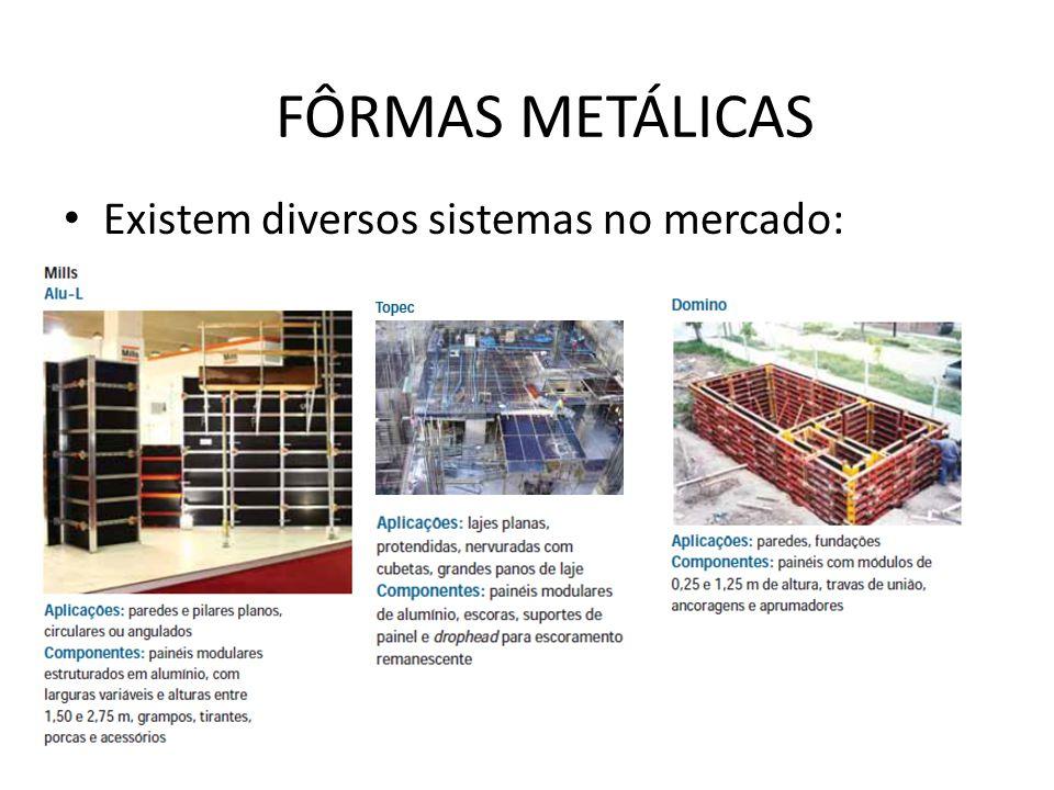 Existem diversos sistemas no mercado: FÔRMAS METÁLICAS