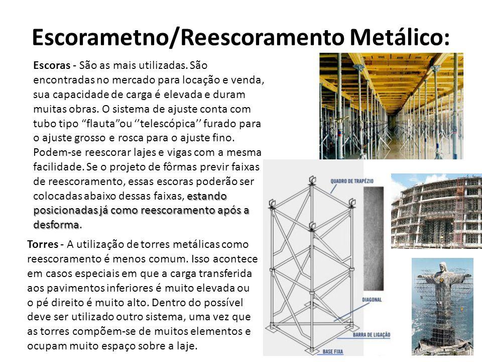 Escorametno/Reescoramento Metálico: estando posicionadas já como reescoramento após a desforma Escoras - São as mais utilizadas.