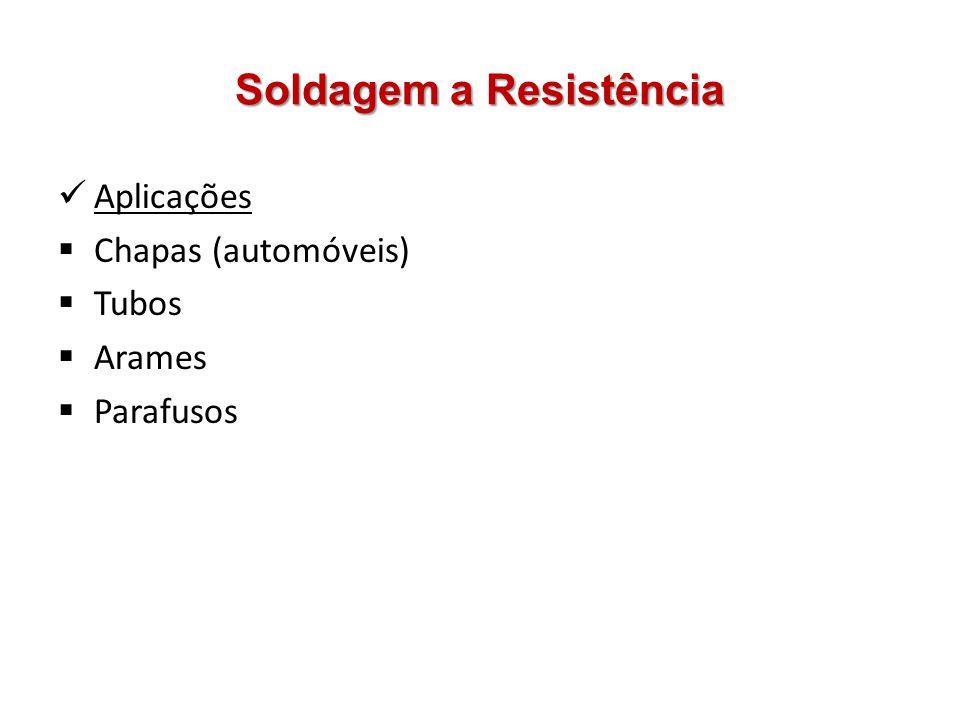 Soldagem a Resistência Aplicações Chapas (automóveis) Tubos Arames Parafusos