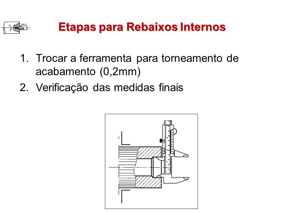 Etapas para Rebaixos Internos 1.Trocar a ferramenta para torneamento de acabamento (0,2mm) 2.Verificação das medidas finais