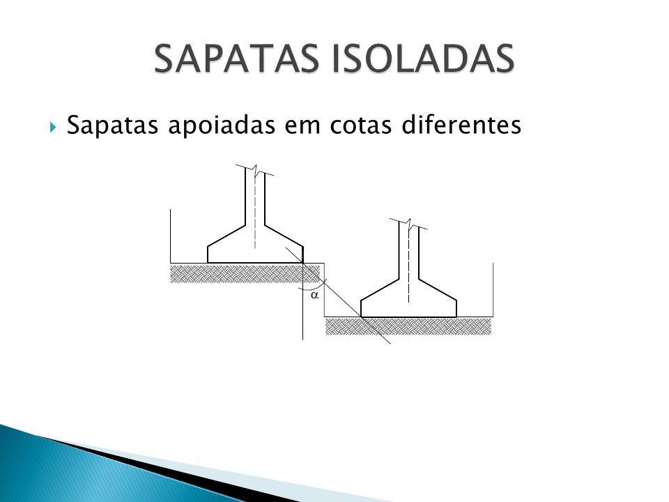 Sapatas apoiadas em cotas diferentes