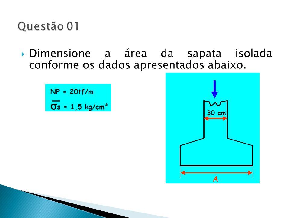 Dimensione a área da sapata isolada conforme os dados apresentados abaixo.