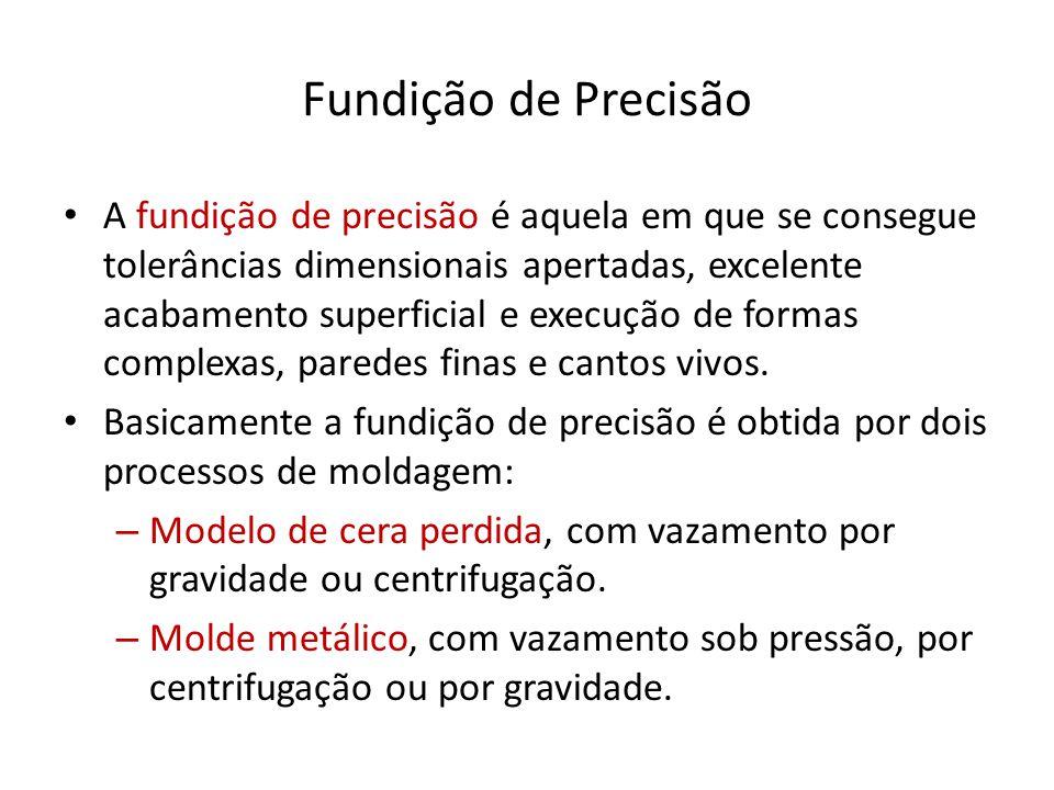 Fundição de Precisão A fundição de precisão é aquela em que se consegue tolerâncias dimensionais apertadas, excelente acabamento superficial e execuçã