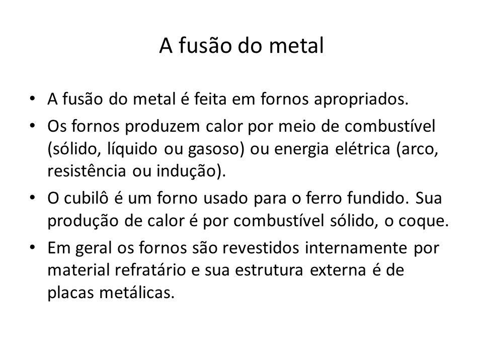 A fusão do metal A fusão do metal é feita em fornos apropriados. Os fornos produzem calor por meio de combustível (sólido, líquido ou gasoso) ou energ