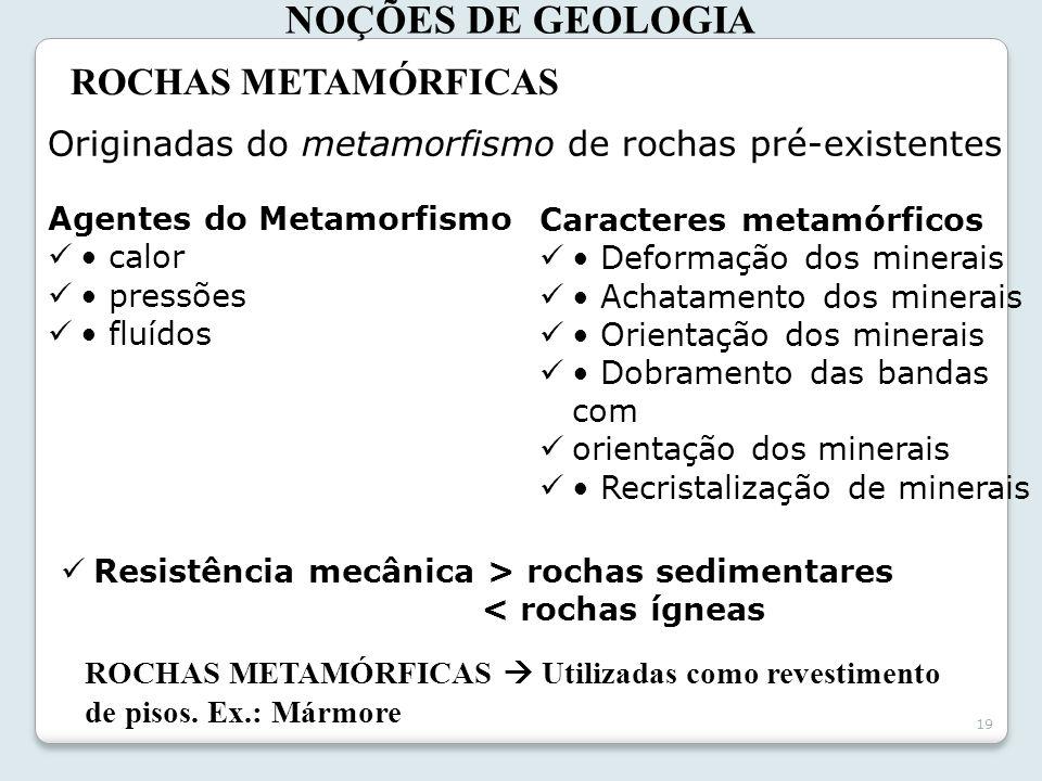 19 NOÇÕES DE GEOLOGIA ROCHAS METAMÓRFICAS Originadas do metamorfismo de rochas pré-existentes ROCHAS METAMÓRFICAS Utilizadas como revestimento de piso