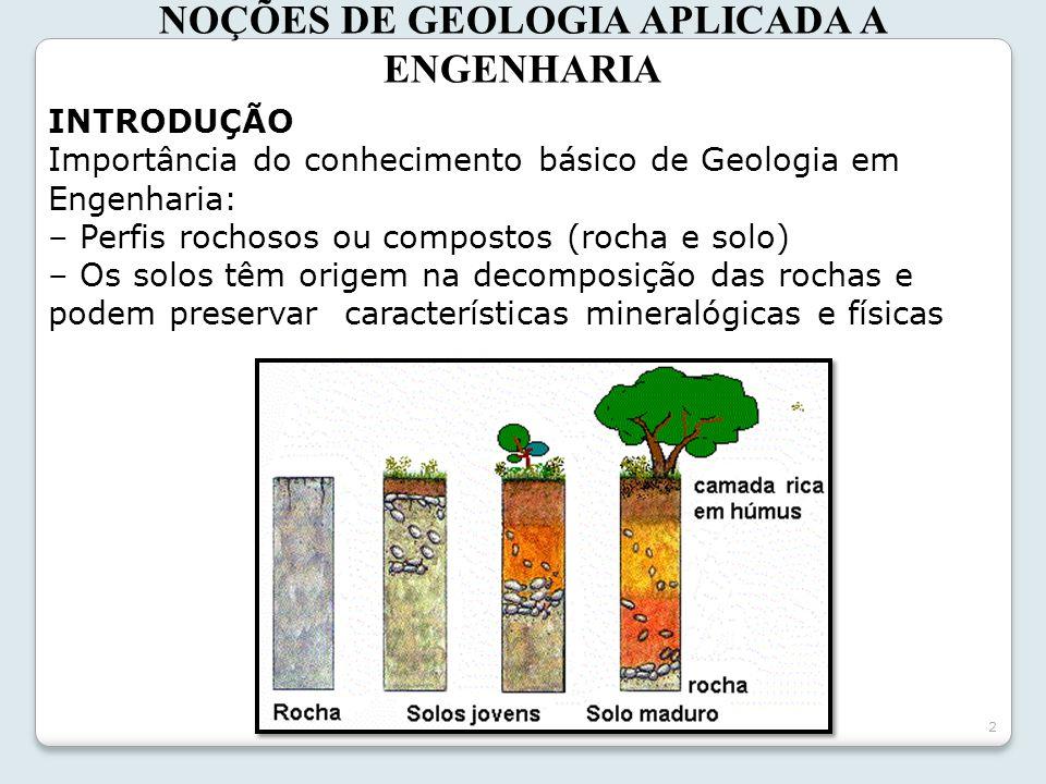 2 NOÇÕES DE GEOLOGIA APLICADA A ENGENHARIA INTRODUÇÃO Importância do conhecimento básico de Geologia em Engenharia: – Perfis rochosos ou compostos (ro