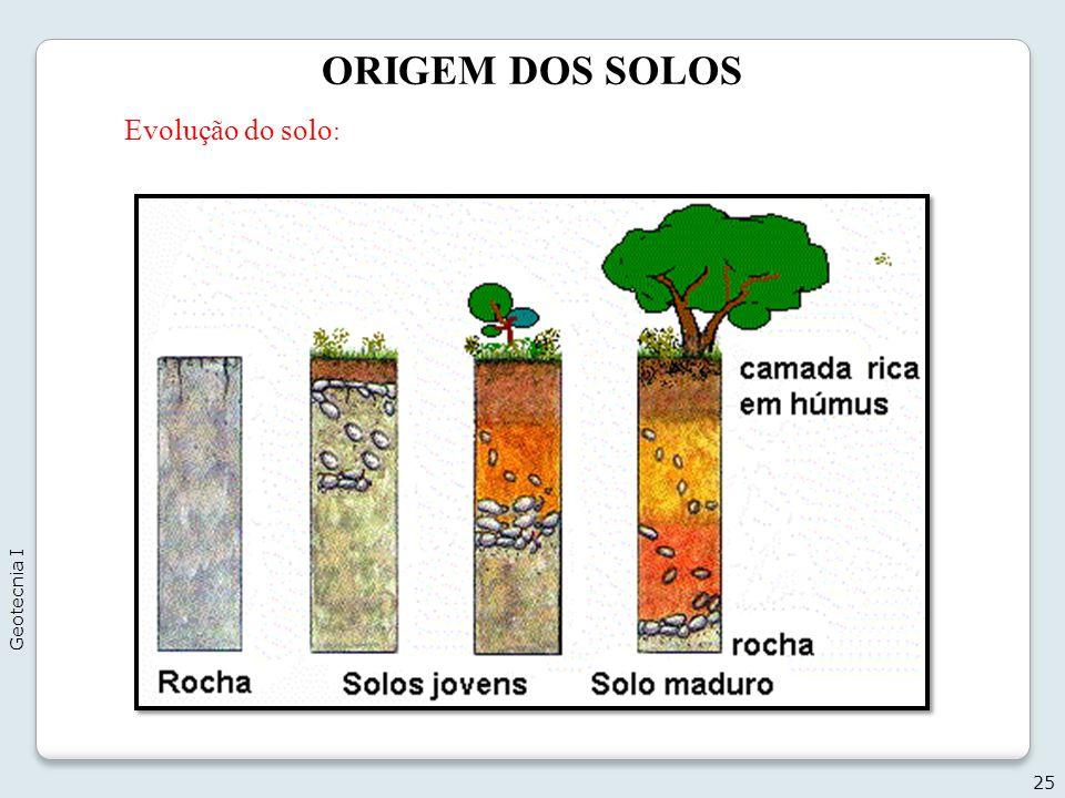 ORIGEM DOS SOLOS 25 Evolução do solo : Geotecnia I