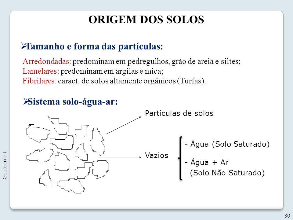 ORIGEM DOS SOLOS 30 Tamanho e forma das partículas: Arredondadas: predominam em pedregulhos, grão de areia e siltes; Lamelares: predominam em argilas