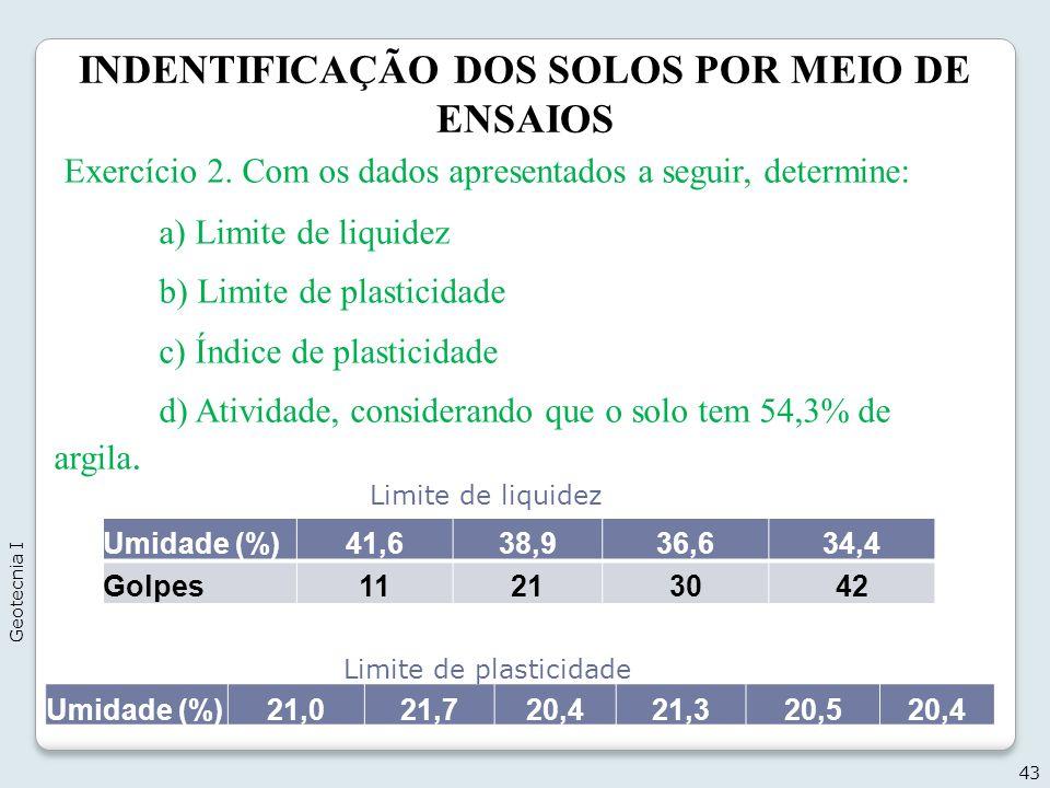 INDENTIFICAÇÃO DOS SOLOS POR MEIO DE ENSAIOS 43 Geotecnia I Exercício 2. Com os dados apresentados a seguir, determine: a) Limite de liquidez b) Limit