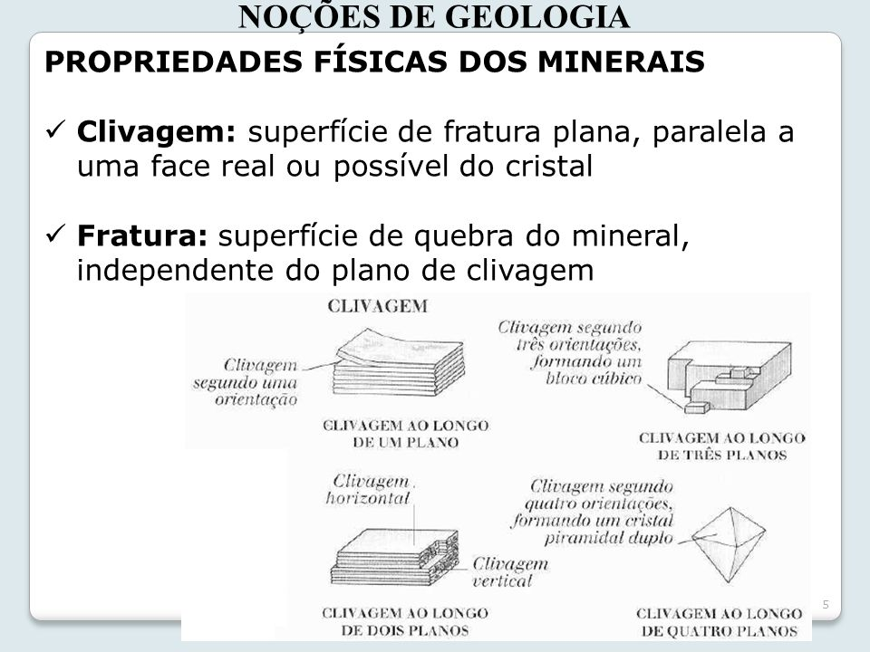 5 NOÇÕES DE GEOLOGIA PROPRIEDADES FÍSICAS DOS MINERAIS Clivagem: superfície de fratura plana, paralela a uma face real ou possível do cristal Fratura: