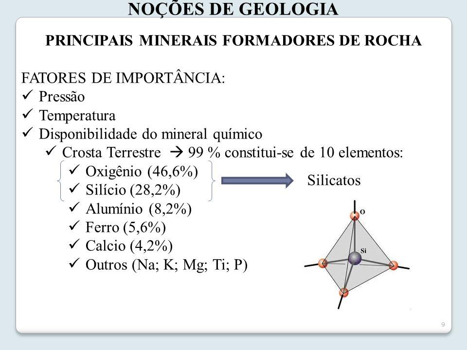 9 PRINCIPAIS MINERAIS FORMADORES DE ROCHA FATORES DE IMPORTÂNCIA: Pressão Temperatura Disponibilidade do mineral químico Crosta Terrestre 99 % constit