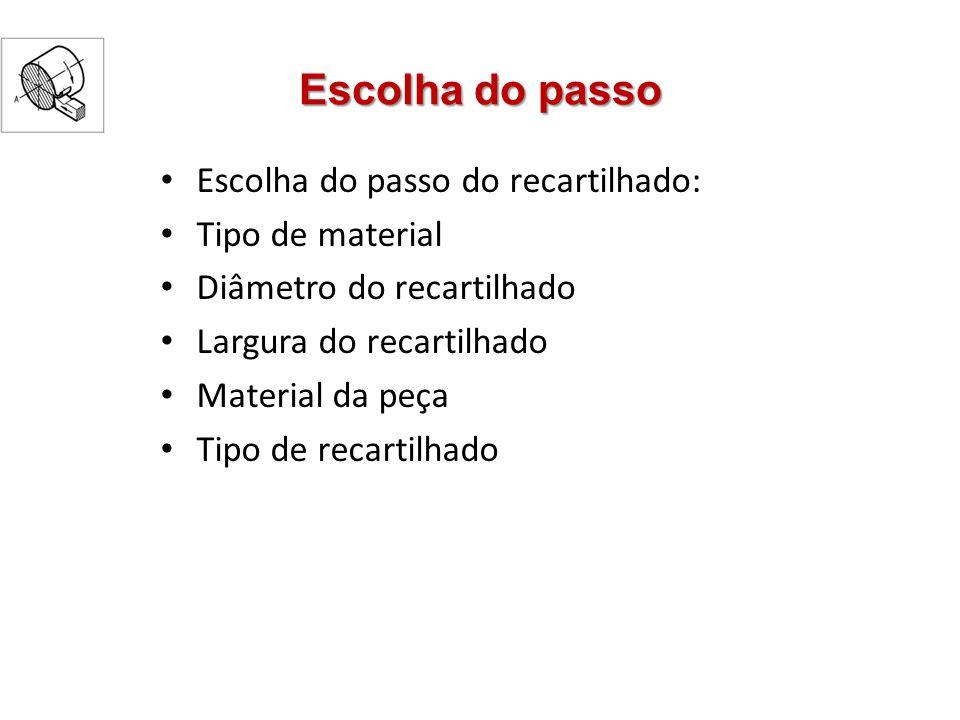 Escolha do passo Escolha do passo do recartilhado: Tipo de material Diâmetro do recartilhado Largura do recartilhado Material da peça Tipo de recartil