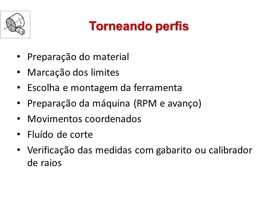 Torneando perfis Preparação do material Marcação dos limites Escolha e montagem da ferramenta Preparação da máquina (RPM e avanço) Movimentos coordena