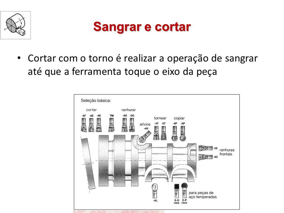 Sangrar e cortar Cortar com o torno é realizar a operação de sangrar até que a ferramenta toque o eixo da peça