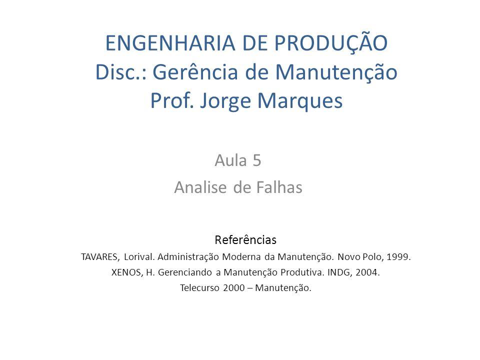 ENGENHARIA DE PRODUÇÃO Disc.: Gerência de Manutenção Prof. Jorge Marques Aula 5 Analise de Falhas Referências TAVARES, Lorival. Administração Moderna