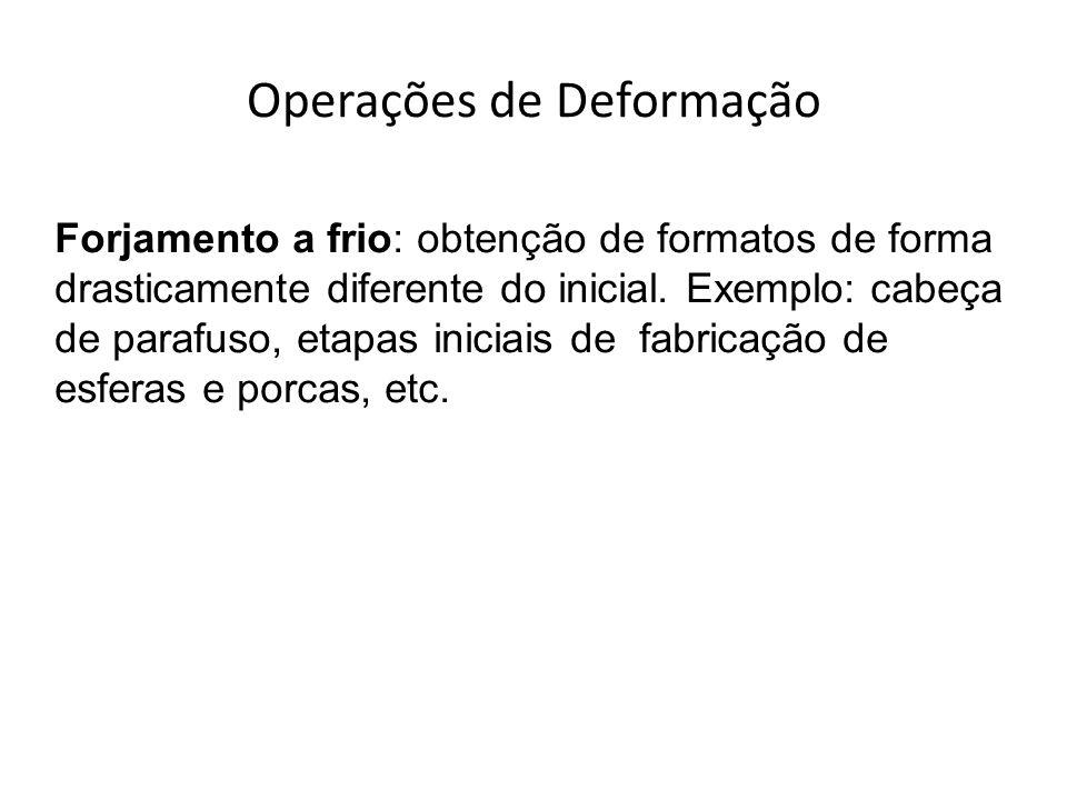 Operações de Deformação Forjamento a frio: obtenção de formatos de forma drasticamente diferente do inicial. Exemplo: cabeça de parafuso, etapas inici