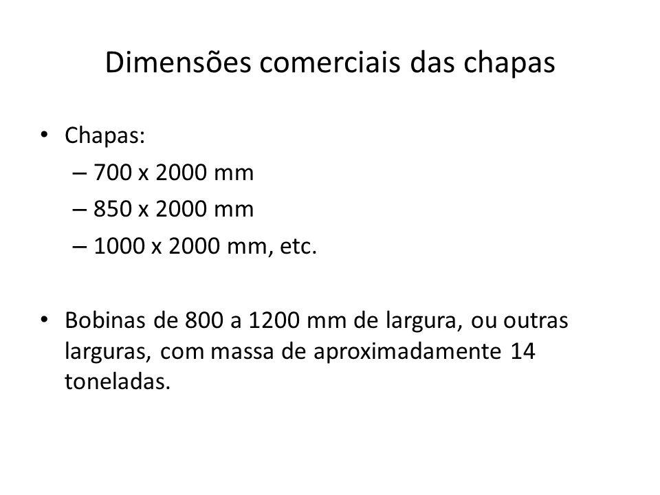 Dimensões comerciais das chapas Chapas: – 700 x 2000 mm – 850 x 2000 mm – 1000 x 2000 mm, etc. Bobinas de 800 a 1200 mm de largura, ou outras larguras