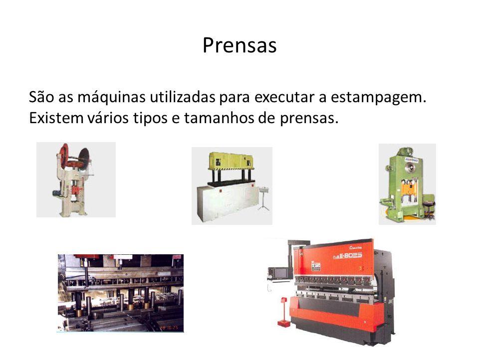 Prensas São as máquinas utilizadas para executar a estampagem. Existem vários tipos e tamanhos de prensas.