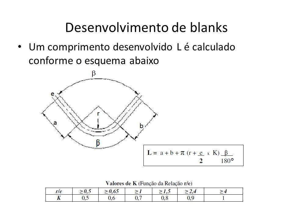 Desenvolvimento de blanks Um comprimento desenvolvido L é calculado conforme o esquema abaixo