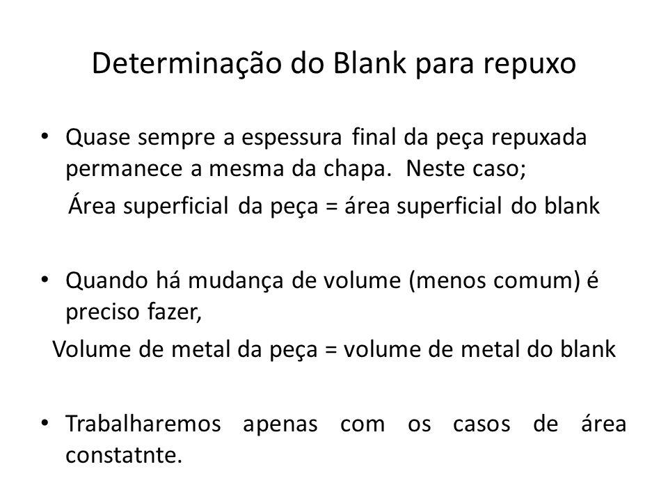 Determinação do Blank para repuxo Quase sempre a espessura final da peça repuxada permanece a mesma da chapa. Neste caso; Área superficial da peça = á