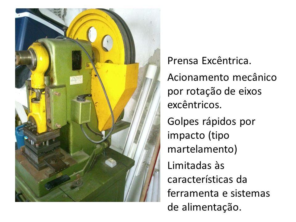 Prensa Excêntrica. Acionamento mecânico por rotação de eixos excêntricos. Golpes rápidos por impacto (tipo martelamento) Limitadas às características