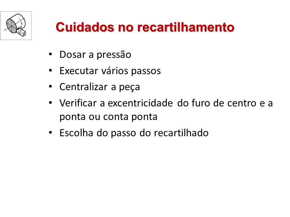 Cuidados no recartilhamento Dosar a pressão Executar vários passos Centralizar a peça Verificar a excentricidade do furo de centro e a ponta ou conta