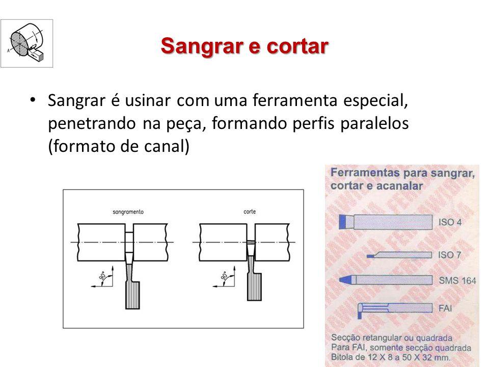 Sangrar e cortar Sangrar é usinar com uma ferramenta especial, penetrando na peça, formando perfis paralelos (formato de canal)
