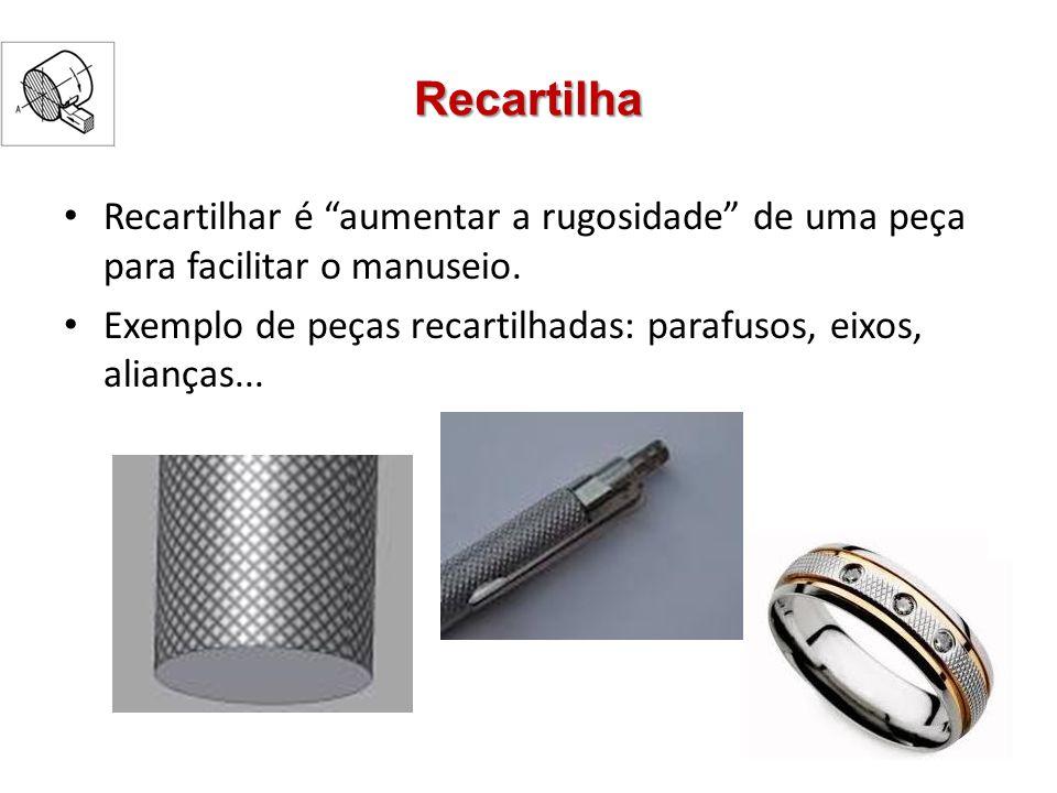 Recartilhas Recartilha é um tipo de ferramenta de corte usada para obter superfícies recartilhadas em torneamento Roletes de aço temperado extremamente duro Dentes + pressão = Recarilhado