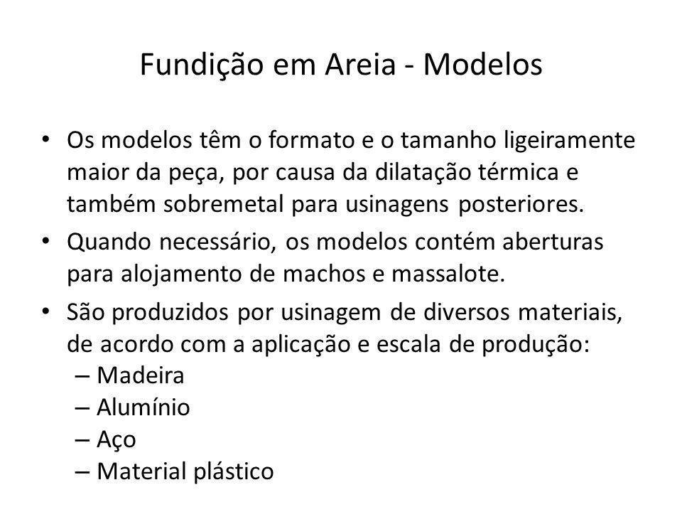 Fundição em Areia - Modelos Os modelos têm o formato e o tamanho ligeiramente maior da peça, por causa da dilatação térmica e também sobremetal para usinagens posteriores.