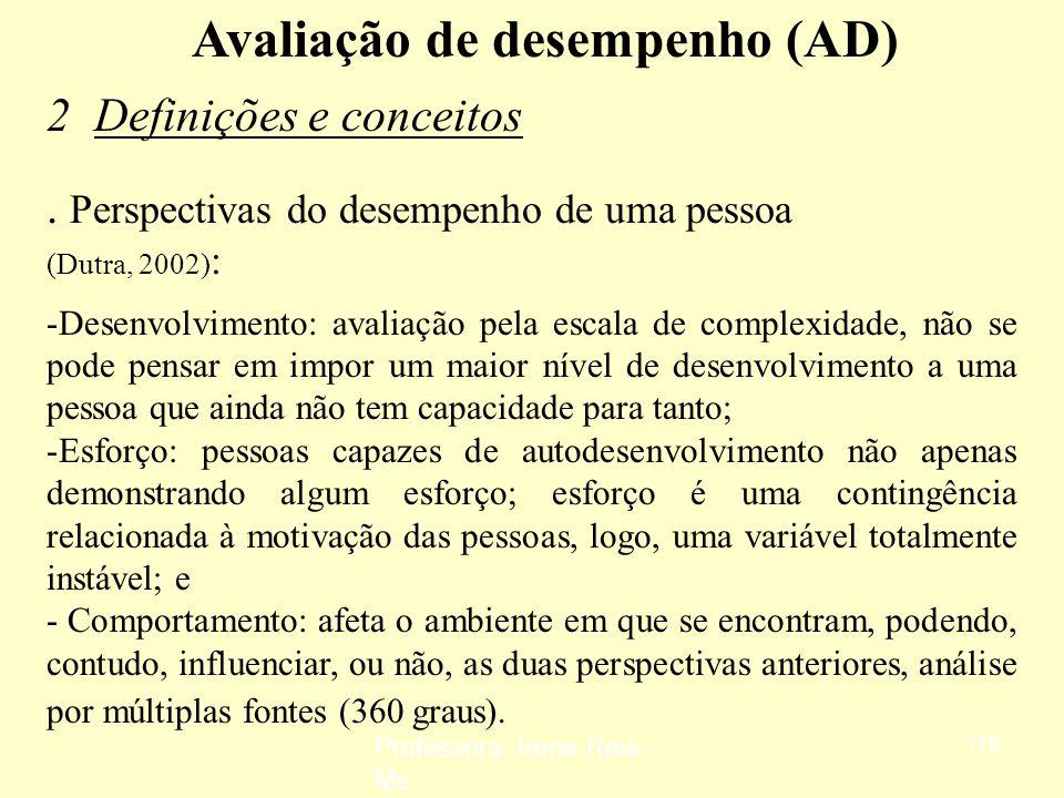 Professora: Irene Reis - Ms 115 Avaliação de desempenho (AD) 2 Definições e conceitos Avaliação de desempenho: implica na identificação, mensuração e