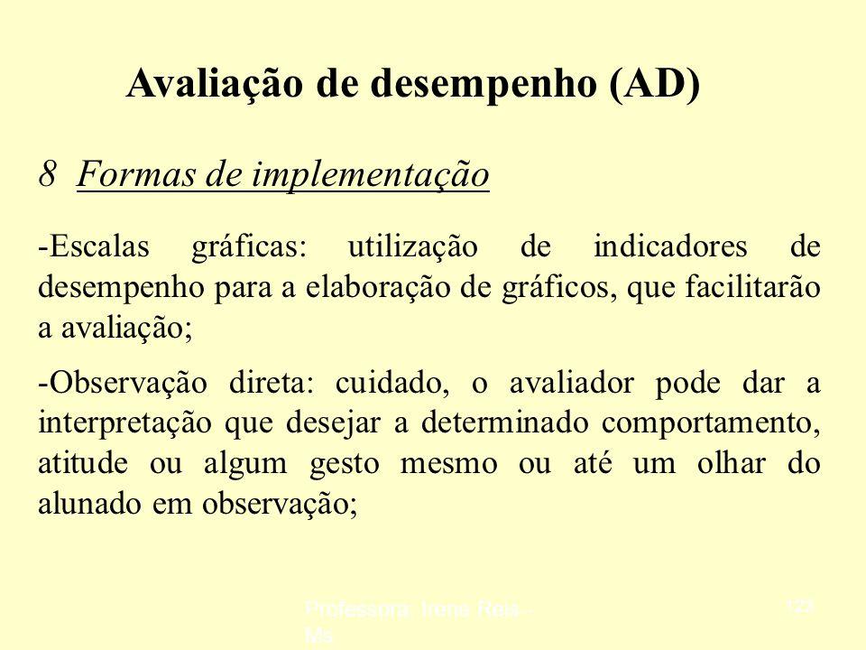 Professora: Irene Reis - Ms 122 Avaliação de desempenho (AD) 7 Limitações da utilização - Serve de justificativa para discussões salariais: ao situar