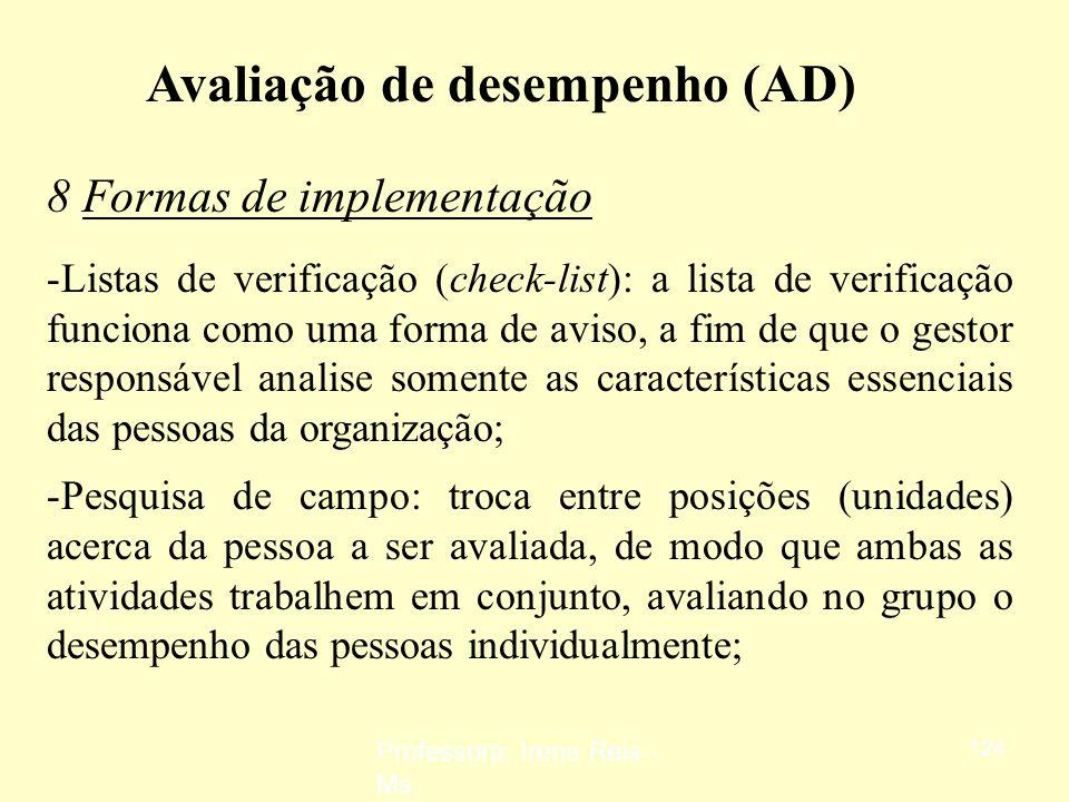 Professora: Irene Reis - Ms 123 Avaliação de desempenho (AD) 8 Formas de implementação -Escalas gráficas: utilização de indicadores de desempenho para
