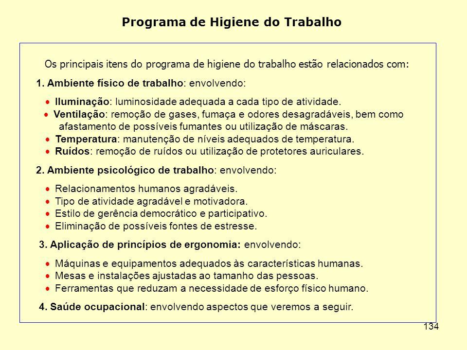 133 Higiene, Segurança e Qualidade de Vida Higiene do Trabalho. Saúde Ocupacional. Segurança do Trabalho. Prevenção de Acidentes. Qualidade de Vida no