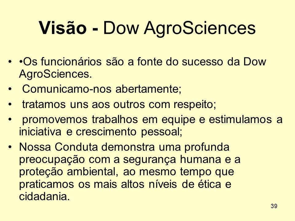 38 Visão - Dow AgroSciences Somos a principal empresa na aplicação de soluções químicas, biológicas e genéticas para atender às necessidades dos merca