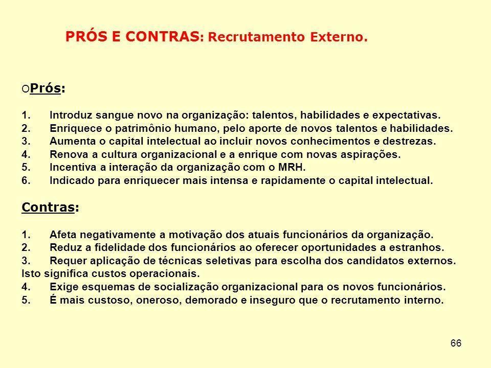 65 Prós: 1. Aproveita melhor o potencial humano da organização. 2. Motiva e encoraja o desenvolvimento profissional dos atuais funcionários. 3. Incent