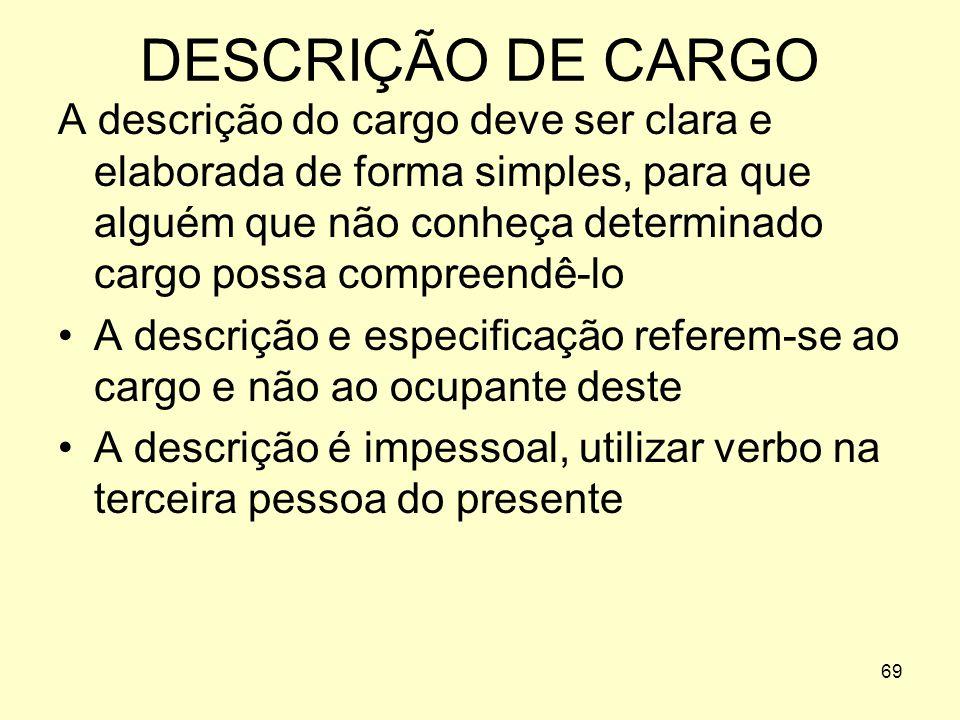 68 RECRUTAMENTO DEFINIÇÃO DE CARGOS Não podemos recrutar ou selecionar pessoas sem a determinação do conteúdo da função ou cargo