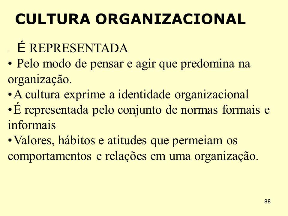 87 4.A filosofia administrativa: que guia e orienta as políticas da organização quanto aos funcionários, clientes e acionistas. 5. As regras do jogo: