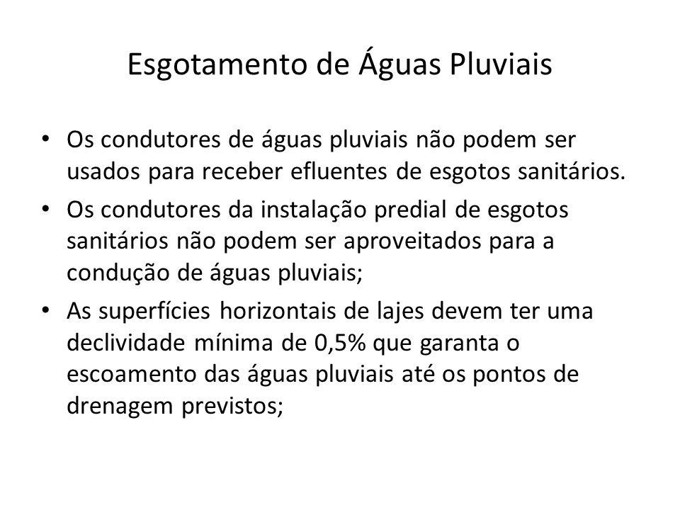 Esgotamento de Águas Pluviais Os condutores de águas pluviais não podem ser usados para receber efluentes de esgotos sanitários.