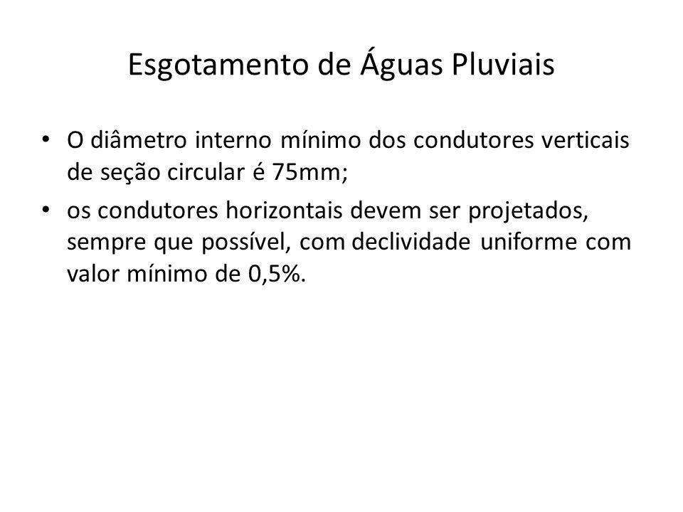 Esgotamento de Águas Pluviais O diâmetro interno mínimo dos condutores verticais de seção circular é 75mm; os condutores horizontais devem ser projetados, sempre que possível, com declividade uniforme com valor mínimo de 0,5%.