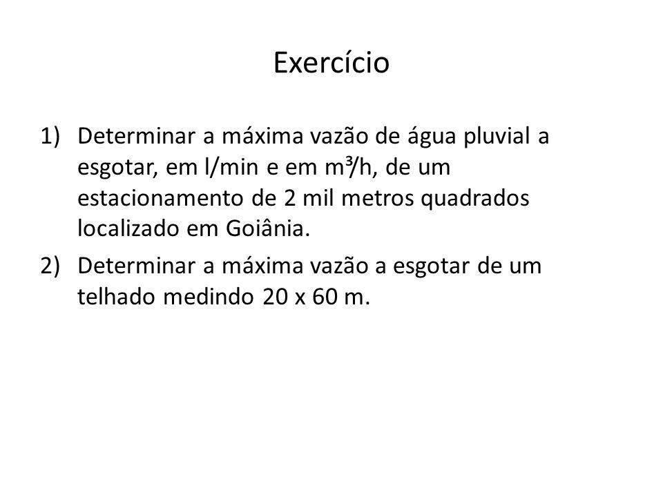 Exercício 1)Determinar a máxima vazão de água pluvial a esgotar, em l/min e em m³/h, de um estacionamento de 2 mil metros quadrados localizado em Goiânia.